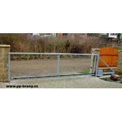 Pojezdová brána samonosná povrchová úprava žárové zinkování průjezd 450 - 550 cm